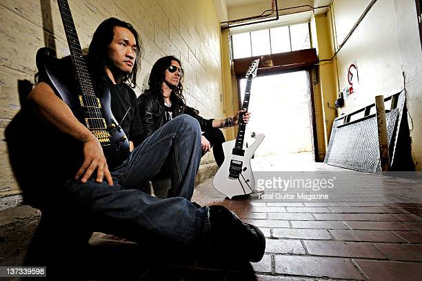 Portrait of Herman Li and Sam Totman guitarists with British power metal group Dragonforce on June 26 2008