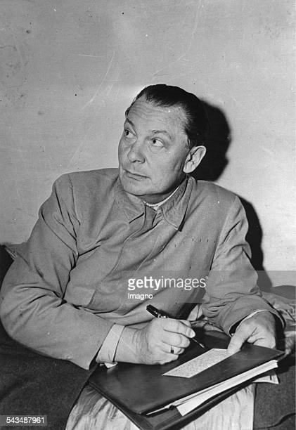 Portrait of Hermann Goering in prison when writing his notes for the Nuremberg Trials. 1945. Photograph.