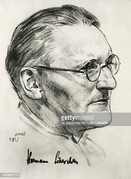 Portrait of Hermann Scherchen German conductor and violinist pencil drawing of R Fuchs