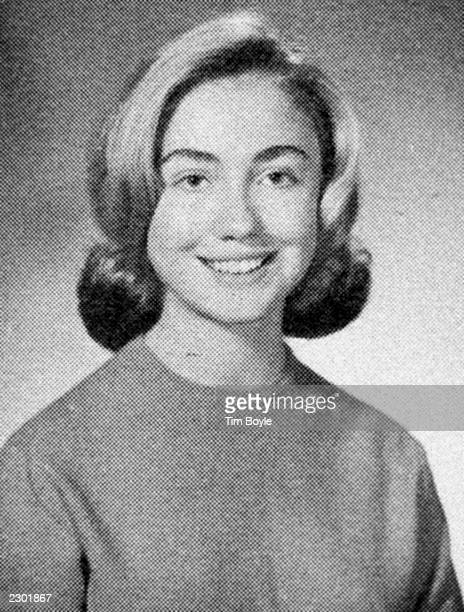 Portrait of Hillary Rodham Clinton as a high school student at Maine East High School Park Ridge Illnois 1965 The photo was taken the Maine East...
