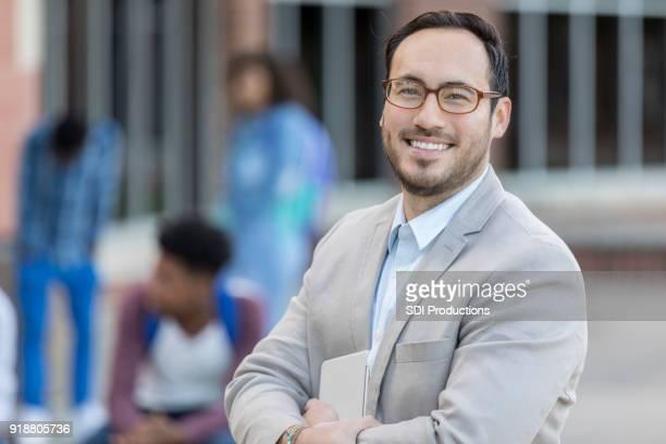 portrait of hispanic male high schools teacher - school principal stock pictures, royalty-free photos & images