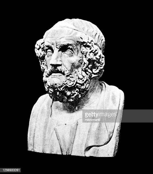portrait of homer, ancient greek poet, author of the iliad and the odyssey - ancient greece stock pictures, royalty-free photos & images