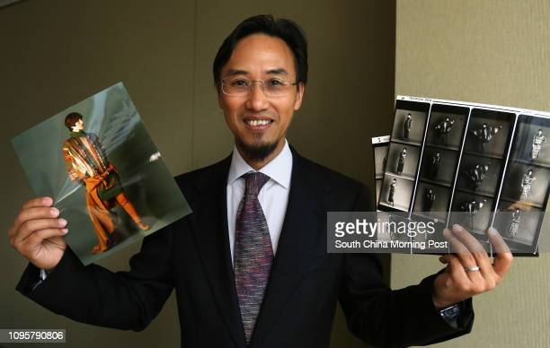 Portrait of Hong Kong Investment Funds Association chairman Bruno Lee Kamwing posing with his fashion designs from his earlier days at Two Pacific...