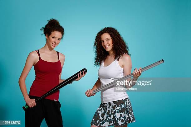 Portrait of hooligan  Twin sisters