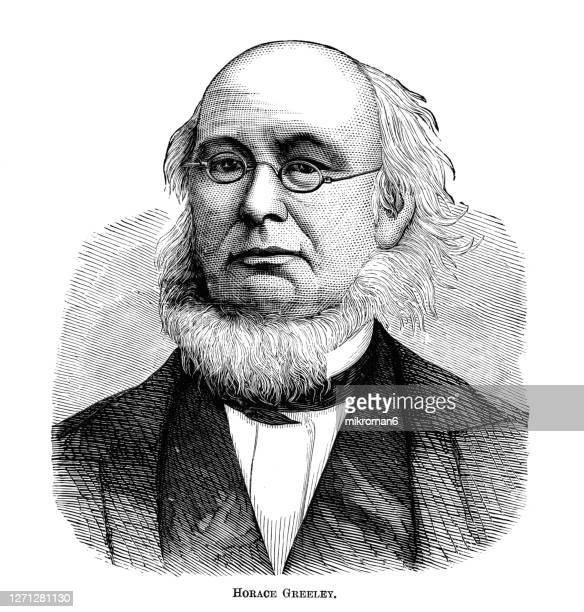 portrait of horace greeley (february 3, 1811 – november 29, 1872) american newspaper editor and publisher, founder and editor of the new-york tribune - founder stock pictures, royalty-free photos & images