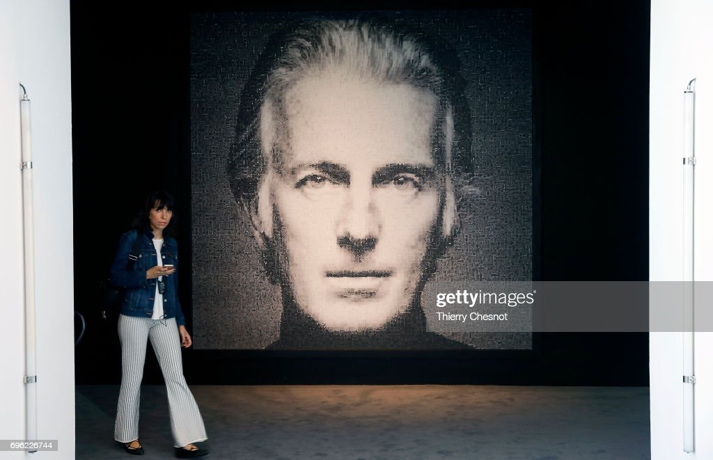 A portrait of Hubert de Givenchy is displayed during the exhibition 'Hubert de Givenchy' at 'Cite de la Dentelle et de la Mode' on June 15, 2017 in Calais, France. This exhibition takes part from June 15 to December 31, 2017.