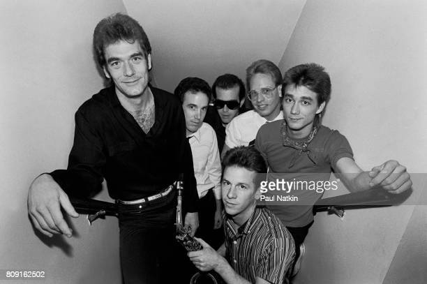 Portrait of Huey Lewis and the News at the Park West in Chicago Illinois May 1 1982