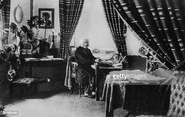 Portrait of Hungarian composer and pianist Franz Liszt 1811 1886 photographed in his workroom in Weimar