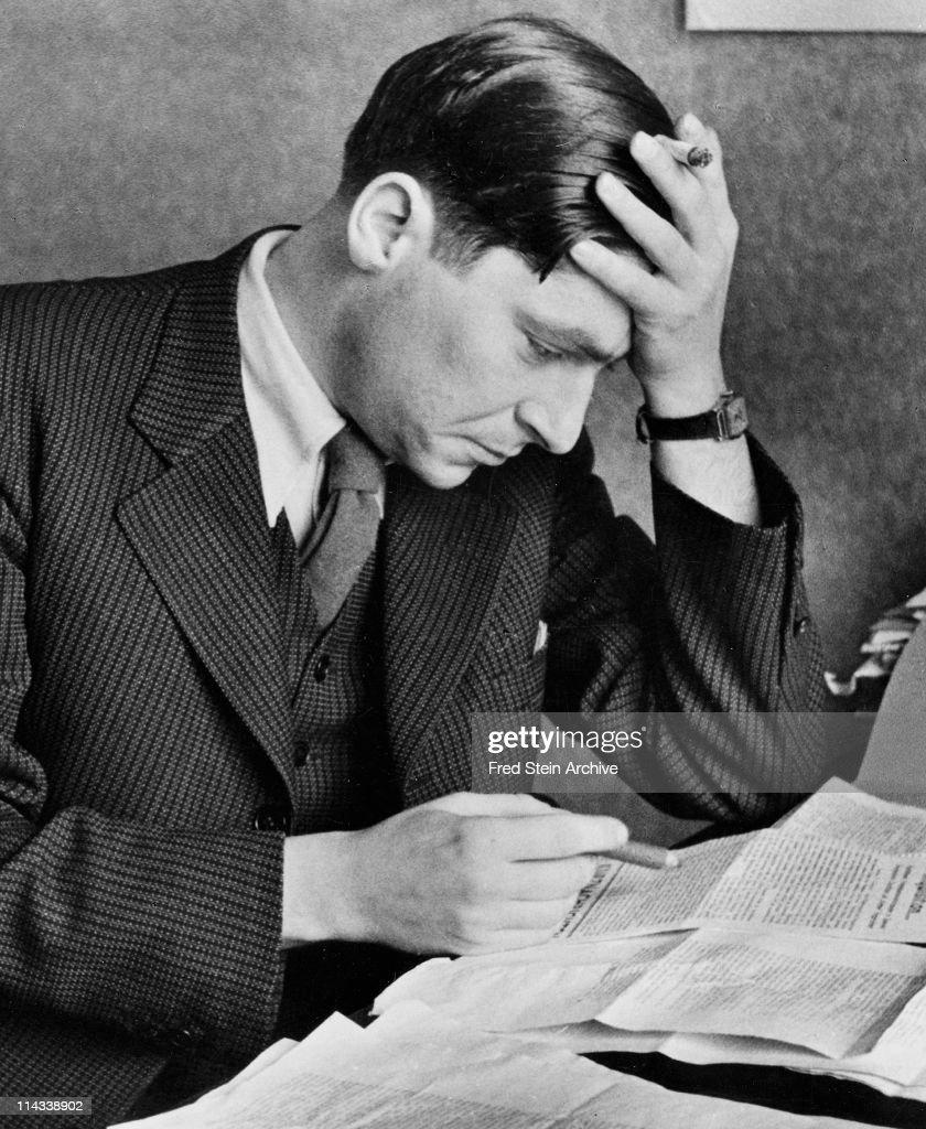 Portrait of Hungarian-born British author Arthur Koestler as he