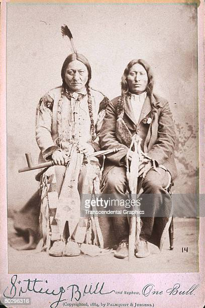 Portrait of Hunkpapa Lakota Sioux holy man and chief Sitting Bull and his nephew One Bull 1884 The photo was taken by Palmquist Jurgens
