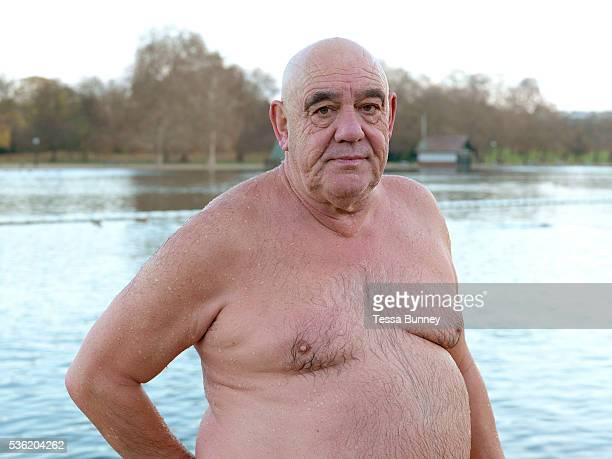 Portrait of Ian Studdart a member of the Serpentine Swimming Club Hyde Park London UK The Serpentine Lake is situated in Hyde Park London's largest...