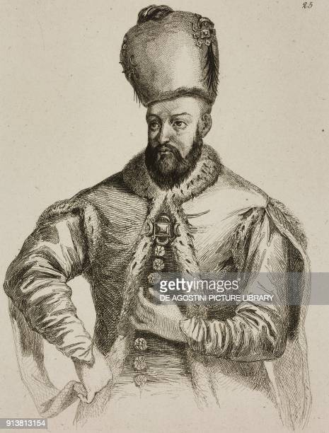 Portrait of Ibrahim I Sultan of the Ottoman Empire engraving by Lemaitre Lalaisse and Chaillot from Turquie by Joseph Marie Jouannin and Jules Van...