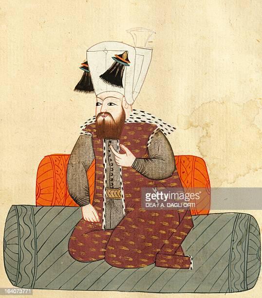 Portrait of Ibrahim I Sultan of the Ottoman Empire illustration from Turkish Memories Arabic manuscript Cicogna Codex 17th century Venice Museo Correr