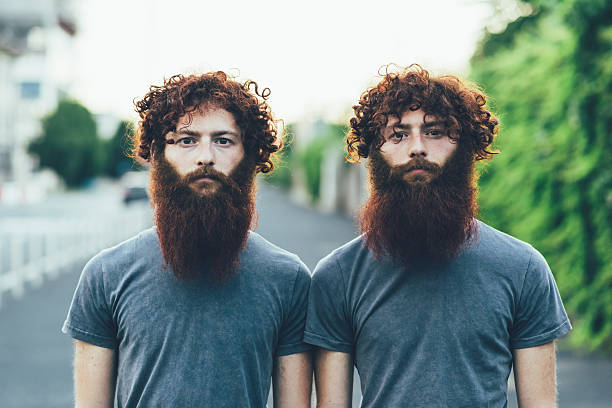 portrait of identical adult male twins with red hair and beards on sidewalk - 對稱 個照片及圖片檔