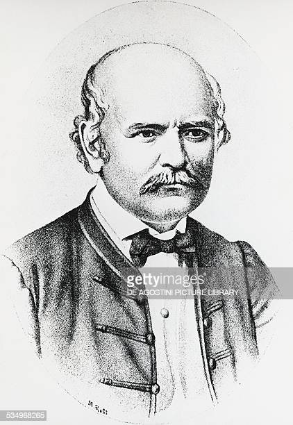 Portrait of Ignaz Philipp Semmelweis , Hungarian obstetrician, engraving.