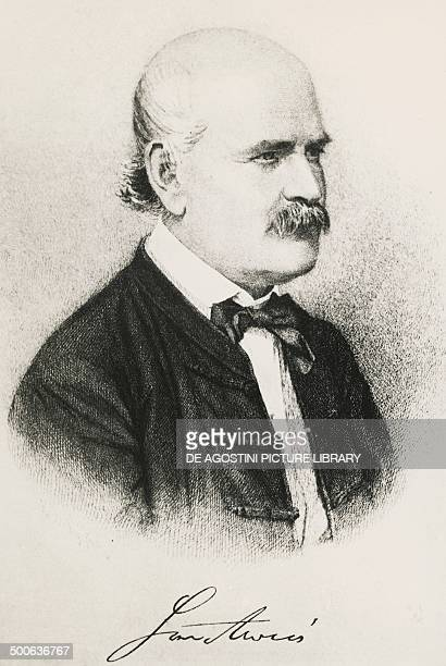 Portrait of Ignaz Philipp Semmelweis , Hungarian physician, engraving.