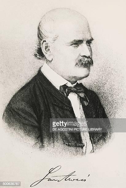 Portrait of Ignaz Philipp Semmelweis Hungarian physician engraving
