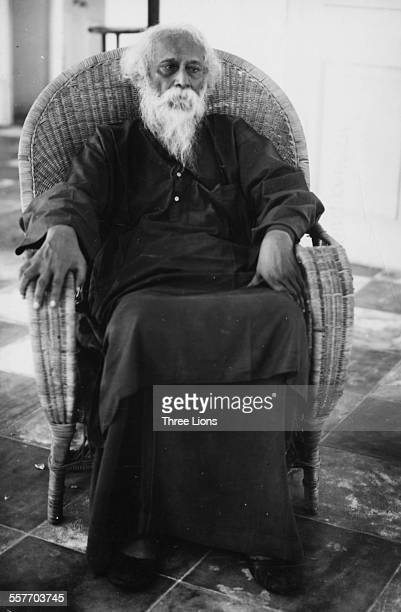 Portrait of Indian author and poet Rabindranath Tagore circa 1941
