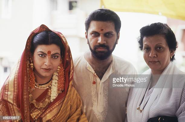1990 Portrait of Indian film actress Kim Katkar with husband Shantanu Sheorey
