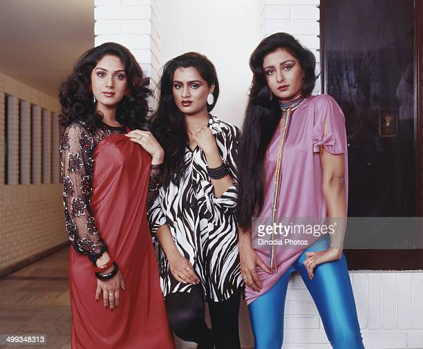 1986 Portrait of Indian film actress Padmini Kolhapuri Poonam Dhillon and Meenakshi Sheshadri
