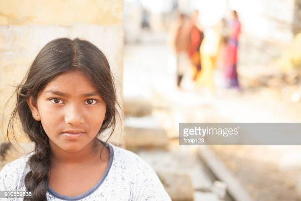 Portrait of Indian girl in local village.