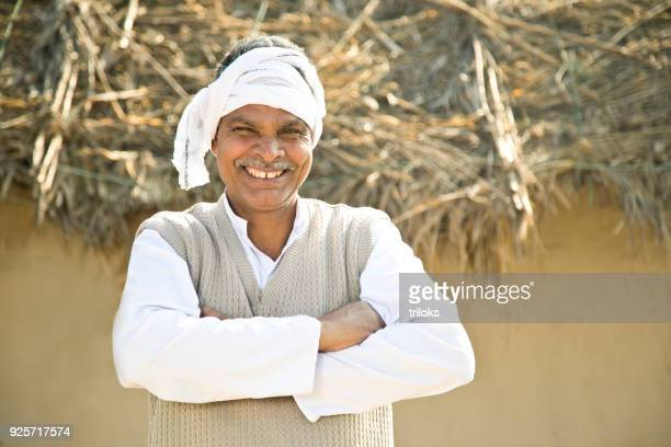 portrait of indian man - asian farmer stock photos and pictures