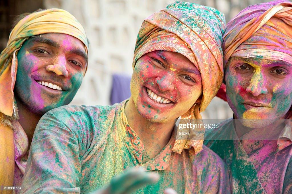 Porträt von indische Männer spielt Holi : Stock-Foto