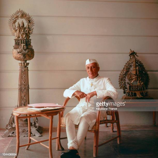 A portrait of Indian Prime Minister Jawaharlal NEHRU in London in the 1950's He wished to industrialize and economically develop India to curb misery...