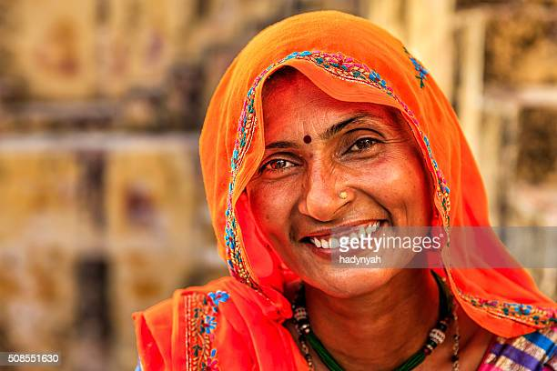 Portrait of Indian woman in village near Jaipur, India