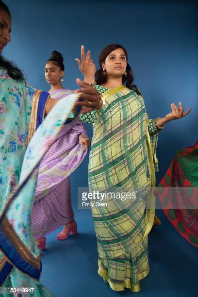 portrait of indian women dancing - womenswear stock pictures, royalty-free photos & images