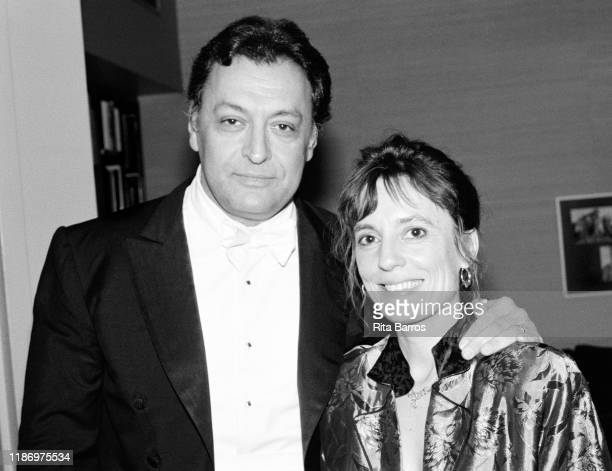Portrait of Indianborn conductor Zubin Mehta and Portuguese Classical musician Maria Joao Pires as they pose backstage at Avery Fisher Hall New York...