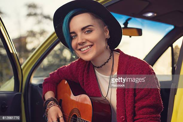 portrait of indie girl - multi colored hat stock pictures, royalty-free photos & images