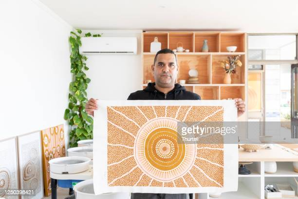 portrait of indigenous aboriginal australian artist - tribal art stock pictures, royalty-free photos & images