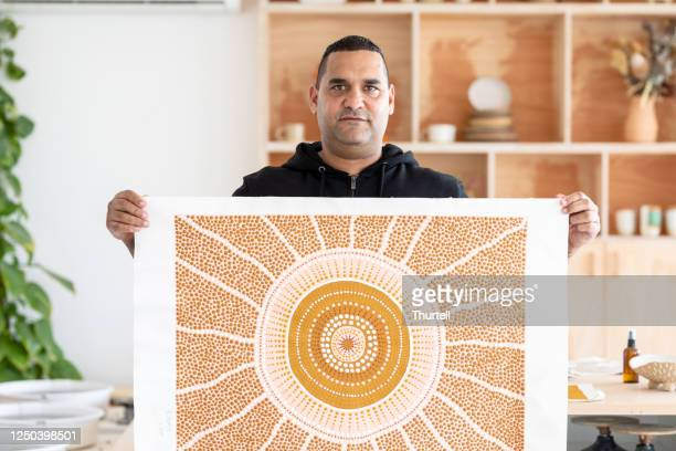 portrait of indigenous aboriginal australian artist - art stock pictures, royalty-free photos & images