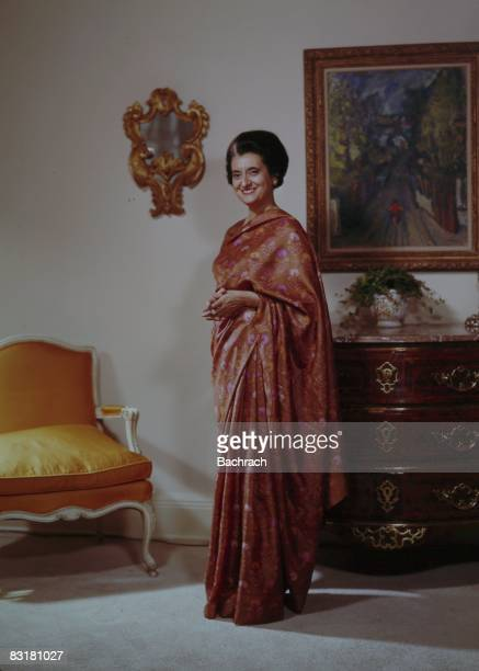 Portrait of Indira Gandhi who served as Prime Minister of India from 1966 to 1974 and 1980 until her assassination in 1984 New York 1963