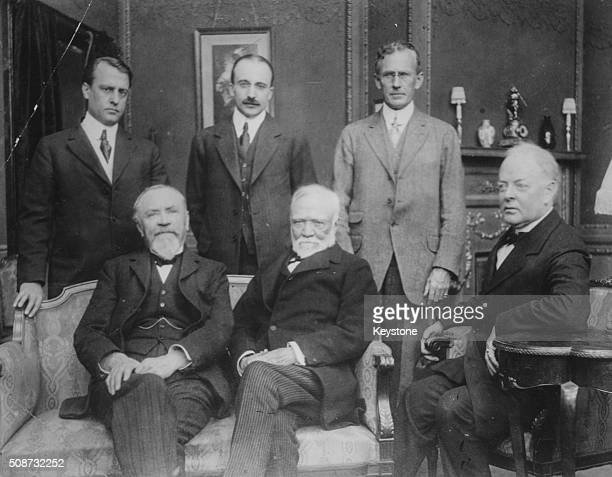 Portrait of industrialist Andrew Carnegie and a group of his associated circa 1900