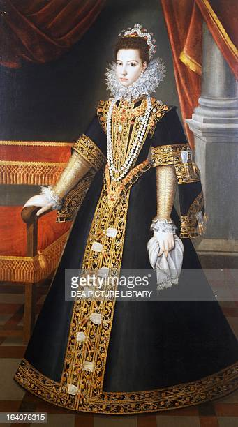 Portrait of Infanta Catherine Michelle of Spain Duchess of Savoy wife of Charles Emmanuel I painting by Jan Kraeck ca 1585 Saluzzo Museo Civico Di...