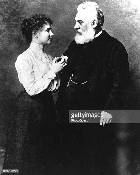 Portrait of inventor Alexander Graham Bell at age 54 with Helen Keller 1901