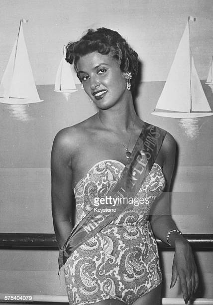 Portrait of Irene Tunc wearing a sash after winning the title of Miss Juan Les Pins, as well as Miss Riviera 1953, and will soon compete for the...