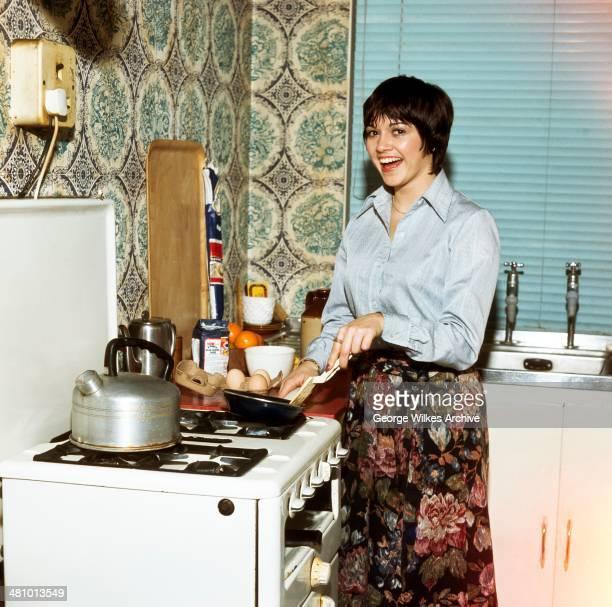 Portrait of Irish actress Gemma Craven in the kitchen London England 1981