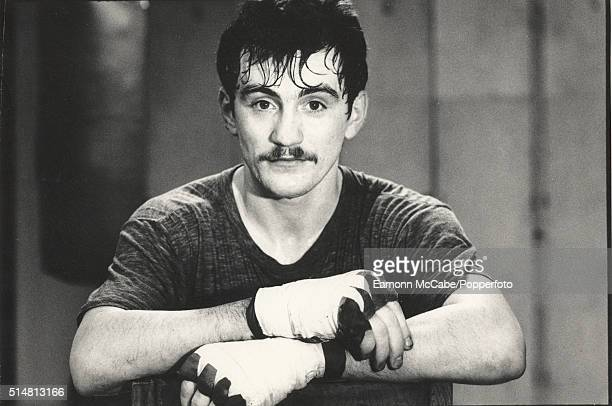 Portrait of Irish featherweight boxer Barry McGuigan circa 1985