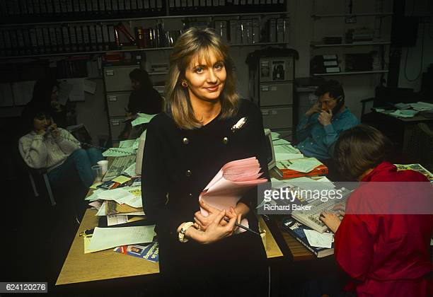 A portrait of Irish media personality Miriam O'Callaghan while working as a producer on the BBC show Kilroy in the summer of 1989 in London England...