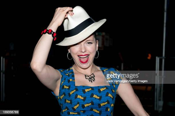 Portrait of Irish musician Imelda May as she poses backstage a Panama hat on her head at Central Park's SummerStage New York New York July 27 2011...
