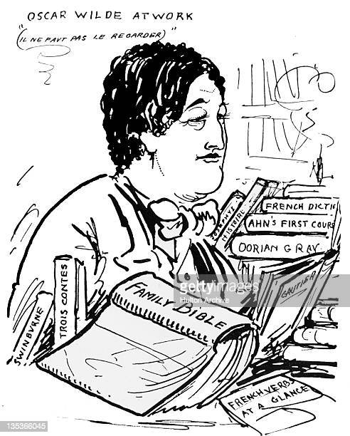A portrait of Irish playwright and poet Oscar Wilde by English illustrator Aubrey Beardsley circa 1895 The portrait is entitled 'Oscar Wilde At Work