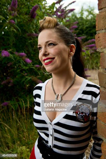Portrait of Irish rock and blues musician Imelda May photographed at her home in Reading England on August 6 2013