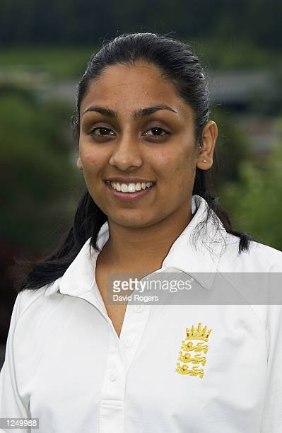 Portrait of Isa Guha of the England Women's Cricket Team during a photoshoot held in High Wycombe Buckinghamshire England on June 27 2002 DIGITAL...