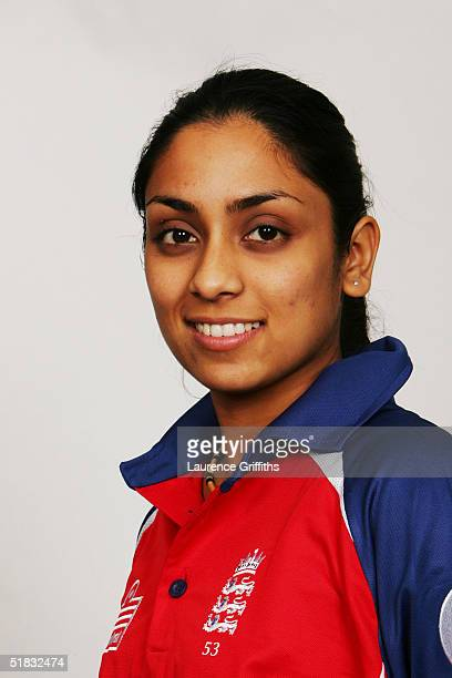 A portrait of Isa Guha taken during the England Women's Cricket Team photocall at Loughborough University on November 26 2004 in Loughborough England