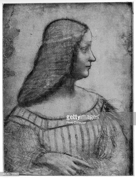 Portrait of Isabella d'Este, 1500 . Found in the collection of the Louvre, Paris. A print from Leonardo da Vinci by Ludwig H Heydenreich. .