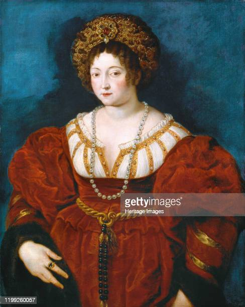 Portrait of Isabella d'Este in Red. After Titian, c. 1605. Found in the Collection of Art History Museum, Vienne. Artist Rubens, Pieter Paul .