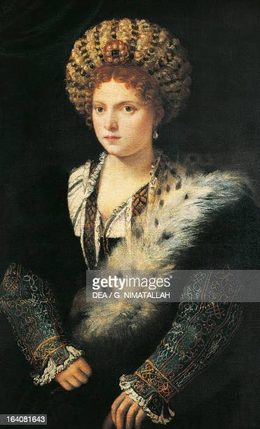 Portrait of Isabella d'Este , Marquise of Mantua. Painting by Titian . Vienna, Kunsthistorisches Museum